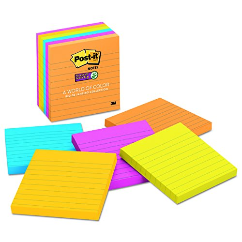 Post It Notes Super Sticky Pads  Lined  4 X4   90 Sheet  Pack Of 6  Rio De Janeiro Collection  675 6Ssuc