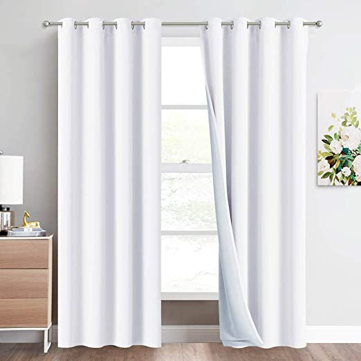 YOUCAI Vintage Blackout Curtains Thermal Insulated Soundproof Curtains For Bedroom Window Treatments Energy Saving Light Block Drapery For Baby Nursery,Black,105x160cm