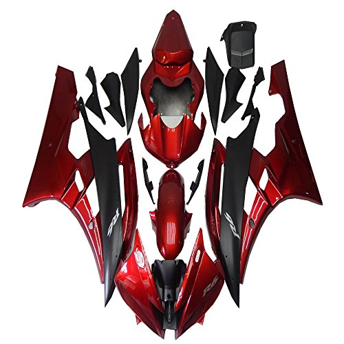 Black Abs Injection (Red Black ABS Plastic Injection Bodywork Fairing Kit Fit for Yamaha 2006-2007 YZF R6)