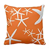 Emvency Throw Pillow Cover Persimmon Orange Starfish Decorative Decorative Pillow Case Home Decor Square 16 x 16 Inch Cushion Pillowcase
