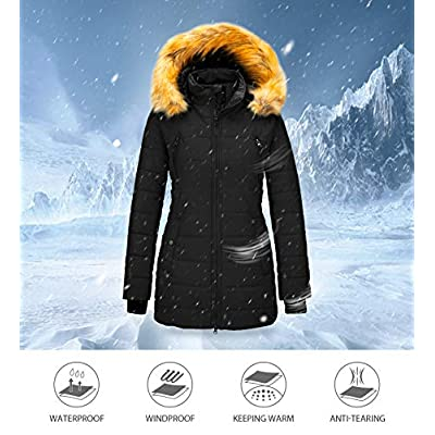Wantdo Women's Warm Winter Coat Thicken Puffer Coats with Removable Fur Hood: Clothing
