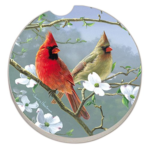 - Counter Art Absorbent Stoneware Car Coaster, Beautiful Songbirds Cardinals (09871)