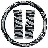 2005 ford escape zebra - Motorup America Steering Wheel Cover w/Seat Belt Pads - White Zebra Animal Print Fits Select Vehicles Car Truck Van SUV