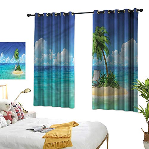 Grommet Curtains Coastal,Small Island Chair and Palm 72