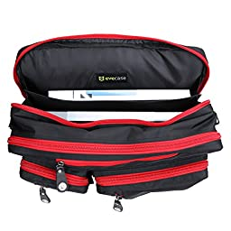 Laptop Briefcase Backpack, Evecase Unisex Lightweight Convertible Laptop Messenger Backpack Rucksack fits up to 17.3-inch Laptop / Notebook / MacBook / Chromebook - Black with Red Zipper