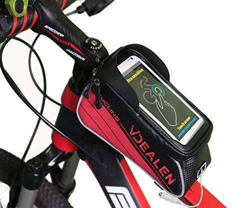 Vdealen Leather Bike Bag Bike Frame Bag with Dual Zipper, Headphone Hole,Window Shade,4.7/ 5.7 Waterproof Touch Screen Phone Case for IPhone LG Nexus Lumia Sony HTC Smartphone