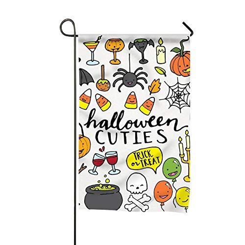Dick Sidney Cute Halloween Clipart Garden Flags 12x18 in Semi Transparent Polyester Fiber
