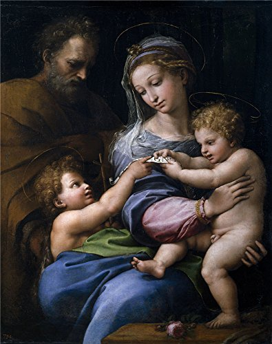 Oil Painting 'Raphael The Holy Family With Little Saint John Or The Virgin With A Rose Ca. 1520' 30 x 38 inch / 76 x 97 cm , on High Definition HD canvas prints, Basement, Foyer And Home Offic decor