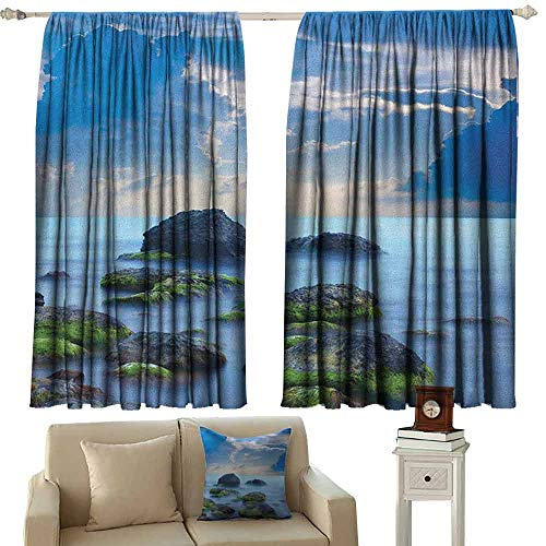 Beach Wear-Resistant Color Curtain Sea Stones on Mystic Seaside Caribbean Shore Photo Majestic Cloudscape Waterproof Fabric W42 x L63 Inch Blue Pale Blue Green ()