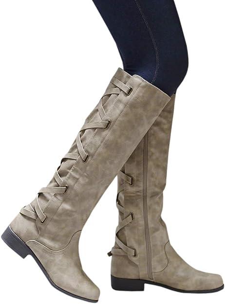 Womens Zip UP Knee High Boots Flat Riding Biker Knee High Warm Winter Ladies
