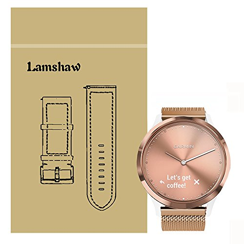 Price comparison product image Lamshaw Smartwatch Bands for Garmin Vivomove HR, Magnetic Milanese Loop Stainless Steel Magnet Closure Lock Band for Garmin Vivomove HR / Garmin Vivoactive 3 Band (Rose Gold)