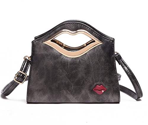 Katoony Girls Fashion PU Leather Sexy Lip Crossbody Shoulder Bag Top Handle Handbag Satchel Clutch - Slick Modern Glasses