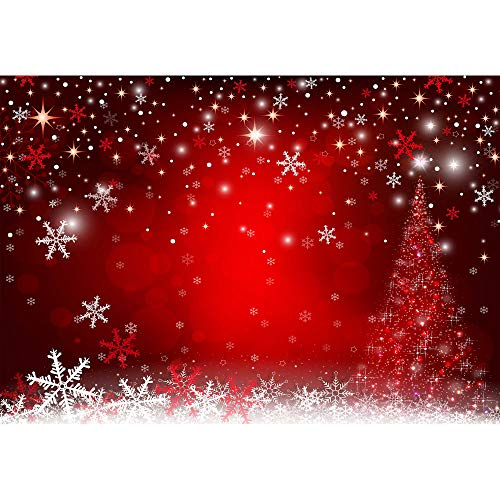 Haboke 8X6ft Durable/Soft Fabric Winter Red and Christmas Tree Backdrop for Photography Snowflake Bokeh Photo Background Banner Studio Props Christmas Party Decorations Supplies (Background Christmas Winter)