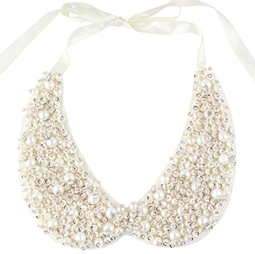 Mural Art Detachable Faux Pearls Sequins Clear Rhinestones False Collar Necklace