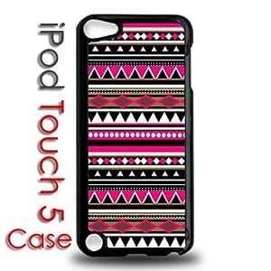 IPod 5 Touch Black Plastic Case - Pink Aztec Tribal Pattern
