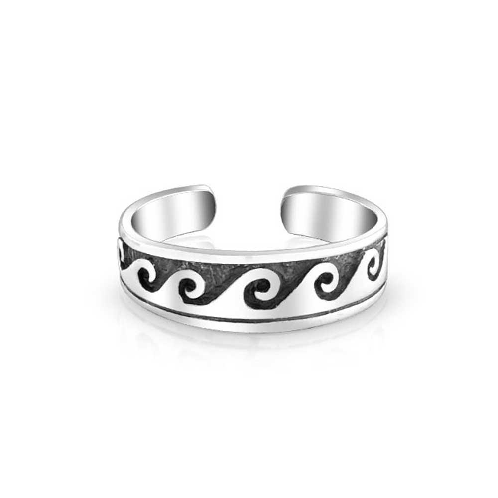 Nautical Ocean Waves Midi Ring Sterling Silver Toe Rings