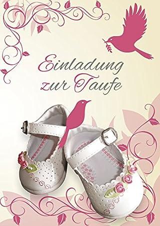 Einladungskarten Taufe Mädchen Mit Innentext Motiv Weiße Schuhe 25  Klappkarten DIN A6 Mit Weißen Umschlägen Im