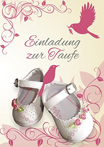 Einladungskarten Taufe Mädchen Mit Innentext Motiv Weiße Schuhe 15