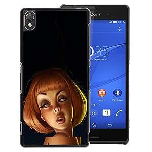 A-type Arte & diseño plástico duro Fundas Cover Cubre Hard Case Cover para Sony Xperia Z3 (Redhead Drawing 3D Kids Cartoon Woman)