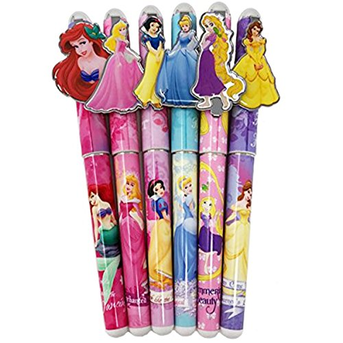 Disney Princess 6 Pen Set, Snow White, Cinderella, Belle, Ariel, Rapunzel, Aurora -