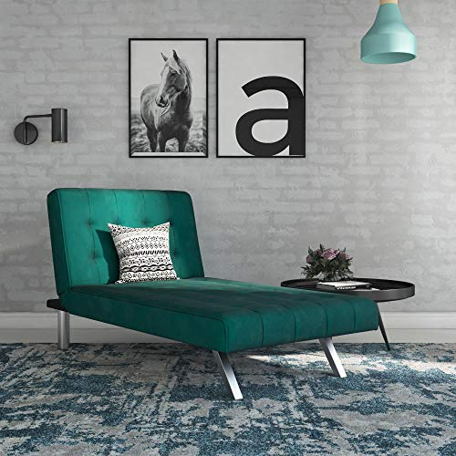DHP Emily Chaise, Green - Chrome Chaise Sectional
