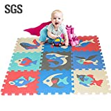 IMSHI 9 Tiles Foam Mat of Number Puzzle Pieces– Marine Foam Mats Children's Educational Toys Puzzle Crawling Mat - Great for Kids to Learn and Play – Interlocking Puzzle Pieces