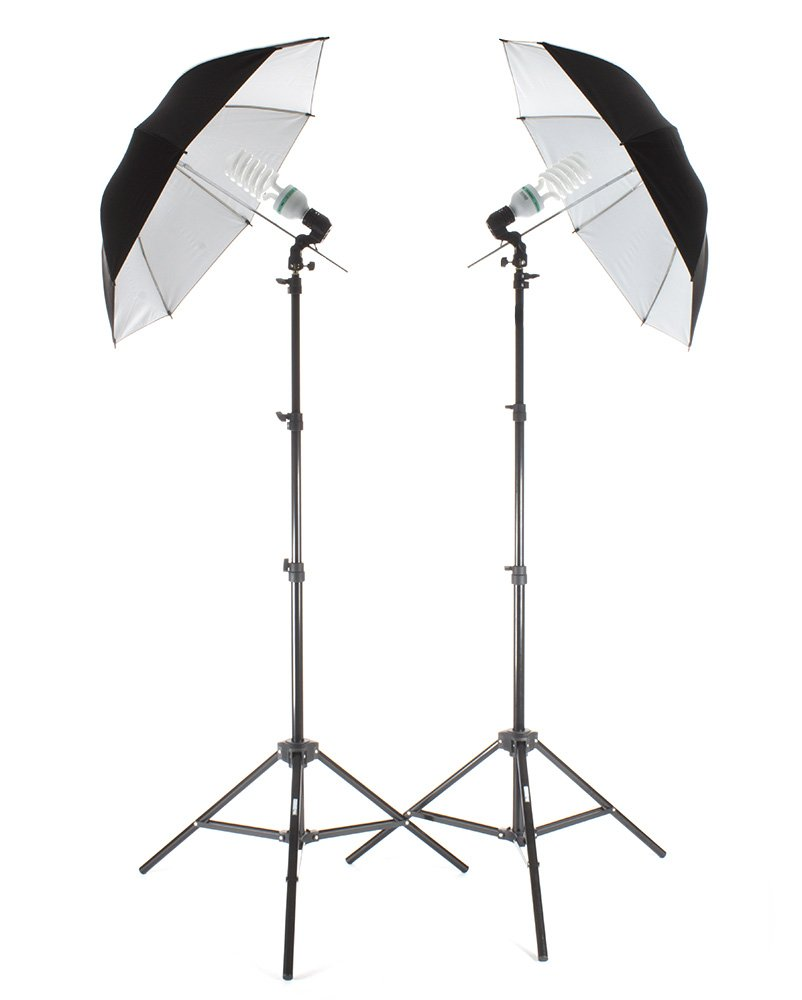 StudioPRO 850W Photography Portrait Studio Continuous Lighting 7'6'' Light Stand Two Light Black on White Umbrella Kit with Two 85W CFL Bulbs