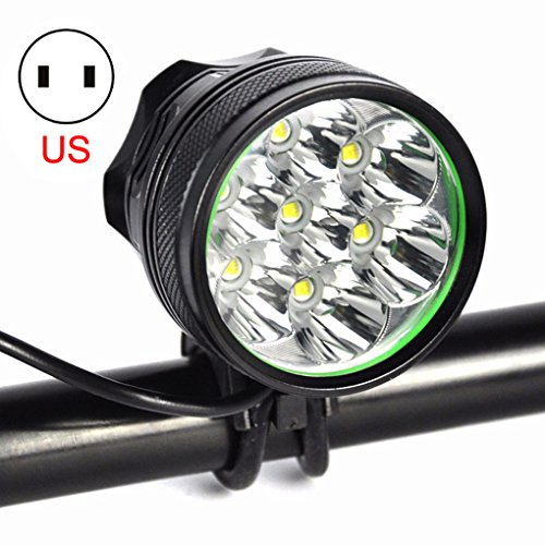 Super Bright Bike Headlamp - Adopts 7 LEDs Maximum 8000 lumens output and 200m irradiation range,High brightness white light with Battery Pack and US Plug Charger Set For Outdoor Hiking, Riding, Camp