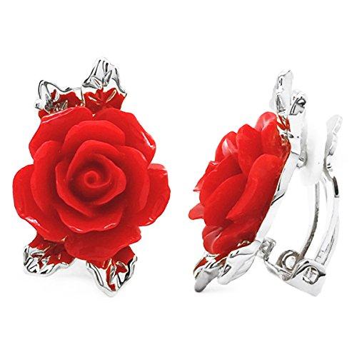 Vintage Rose Pierced Earrings - 2