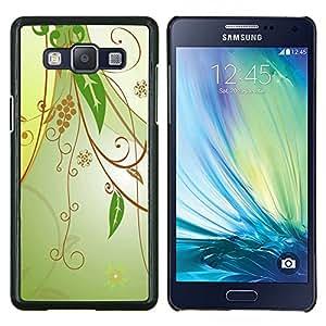 KLONGSHOP // Cubierta de piel con cierre a presión Shell trasero duro de goma Protección Caso - Diseño floral verde - Samsung Galaxy A5 A5000 //