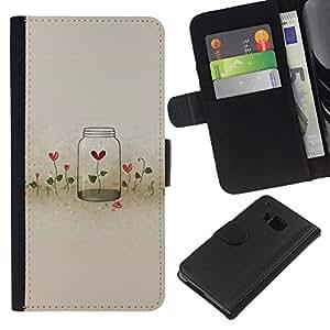 KLONGSHOP // Tirón de la caja Cartera de cuero con ranuras para tarjetas - Flores Locked Heartbreak Profundo - HTC One M9 //