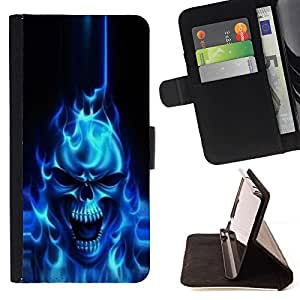 BETTY - FOR Samsung Galaxy Note 3 III - Flaming Blue Goth Skull Skeleton - Style PU Leather Case Wallet Flip Stand Flap Closure Cover