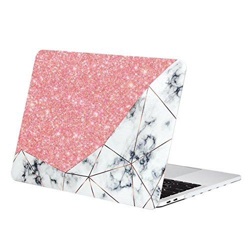 TOP CASE - Bling Crystal Geometric Marble Pattern Rubberized Hard Case Compatiable with MacBook Pro 13