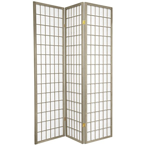 Oriental Furniture 6 ft. Tall Window Pane - Special Edition - Grey - 3 Panels