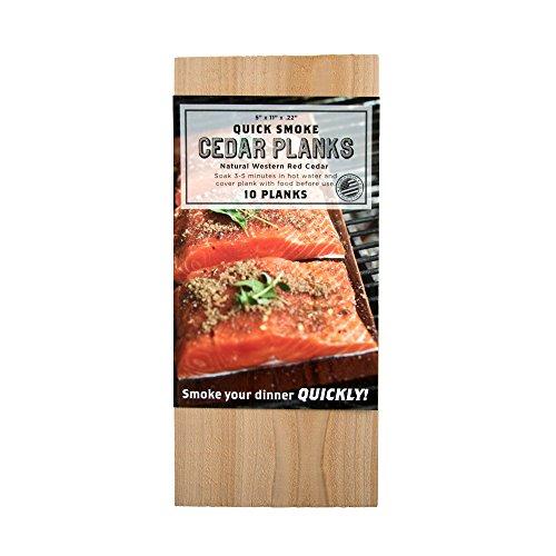 Best Buy! Quick Soak Cedar Grilling Planks - 5x11 10 Pack + Free Recipe eBook