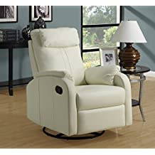 Candace & Basil RECLINER - SWIVEL ROCKER / IVORY BONDED LEATHER