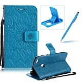 Wallet Case for Huawei P8 Lite 2017,Strap Flip Case for Huawei P8 Lite 2017,Herzzer Retro Elegant [Blue Mandala Flower Pattern] Stand Function Magnetic Smart Leather Case with Soft Inner for Huawei P8 Lite 2017 + 1 x Free Blue Cellphone Kickstand + 1 x Free Blue Stylus Pen