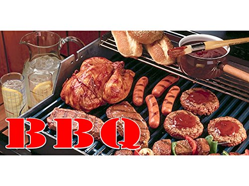 bn1241 BBQ with Sausages, Pork,Chicken Banner Sign NEW