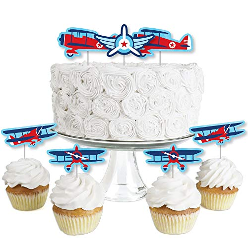 Taking Flight - Airplane - Dessert Cupcake Toppers - Vintage Plane Baby Shower or Birthday Party Clear Treat Picks - Set of 24]()