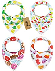 iZiv 4 PACK Baby Bandana Drool Bibs with Adjustable Snaps, Absorbent Soft Cotton Lining 0-2 Years