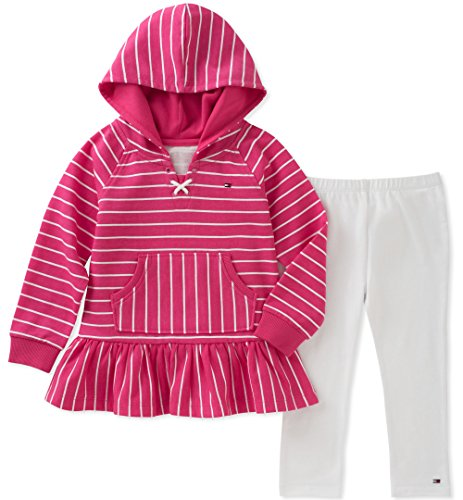 Tommy Hilfiger Little Girls' Long Sleeve Tunic Set, Stripes/White, 5 by Tommy Hilfiger