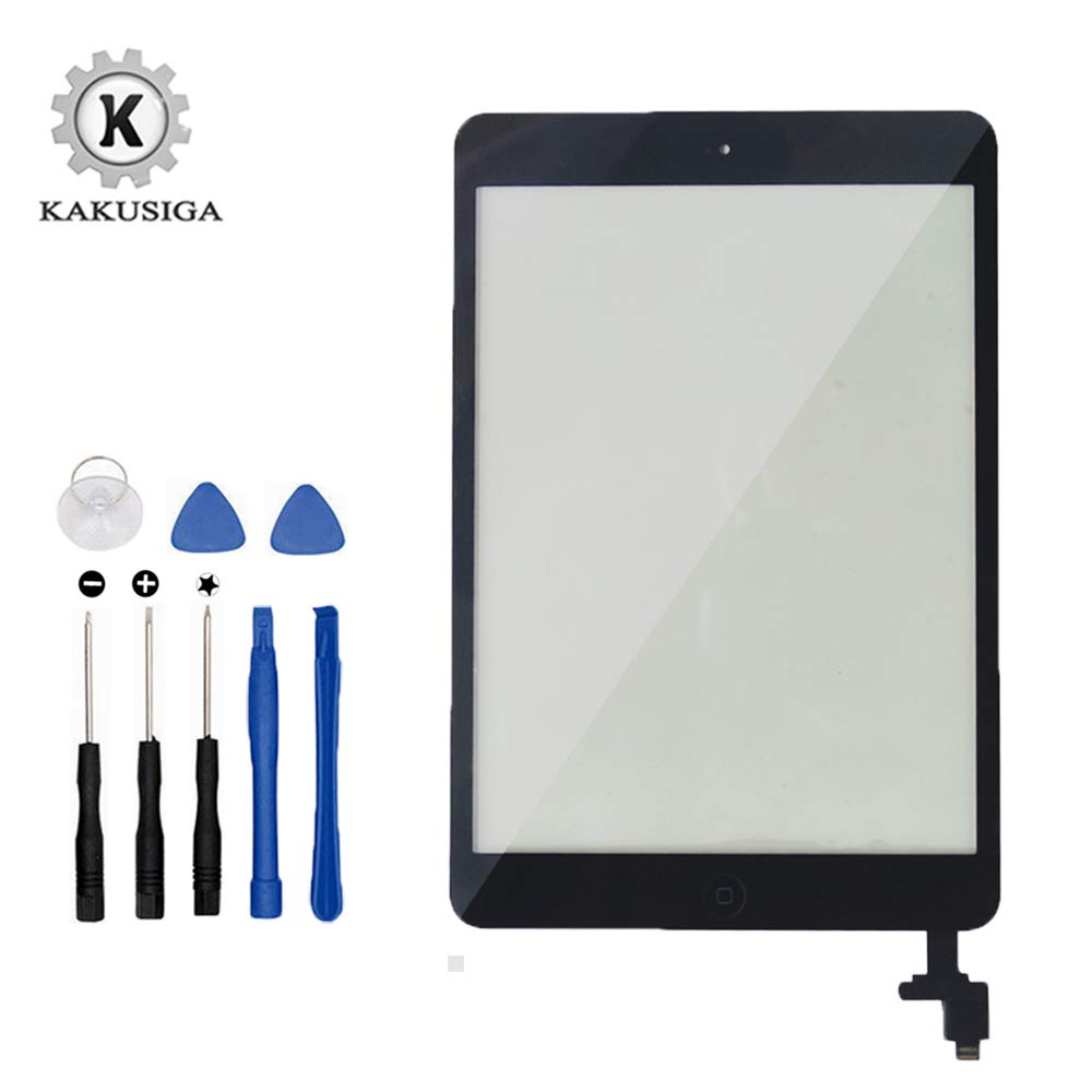 KAKUSIGA Compatible with ipad Mini/iPad Mini 2 Touch Screen Digitizer Complete Assembly with IC Chip Flex Cable Home Button Camera Bracket Pre Assembled, Adhesive and Repair Tool Kits(Black)