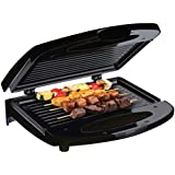 Chefman RJ01-CONTACT-B Flat or Closed Sandwich Press with Non-Stick Plates and Cool-Touch Handle, 4 Serving, Black