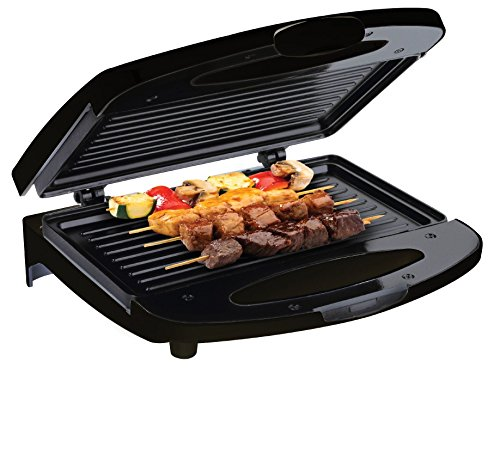 , Chefman Electric Contact Grill Griddle, Indoor Dual Closed Sandwich Press With NonStick Plates & CoolTouch Handle, For Kitchen And Countertop, 2 Serving, Compact, Black
