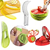 Aremazing Fruit Slicer Set of 4 Banana Watermelon Kiwi & Avocado Slicer Strawberry Huller Fruit Knife Kitchen Tools Value Pack