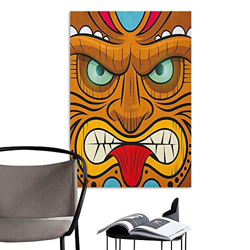 Jaydevn Self Adhesive Wallpaper for Home Bedroom Decor Tiki Bar Cartoon Style Angry Looking Tiki Warrior Mask Colorful Icon Totem Culture Print Multicolor Elevator Stairs Wall W24 x H36 for $<!--$33.00-->