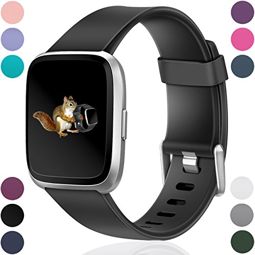 Small Color Black Extra (Wepro For Fitbit Versa Bands Replacement for Women Men Small Black, Sports Watch Band for Fitbit Versa Smartwatch)
