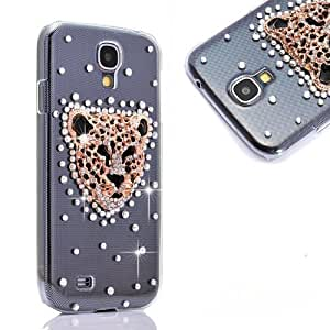 3D Leopard head Handmade Rhinestong Series Crystal Diamond Rhinstone Design Bling Case Clear Cover for Samsung Galaxy S4 9500 9505 M919,SCH-R970X,Samsung Galaxy S4 C Spire,Samsung Galaxy S4 AT&T(not fit S4 active version)