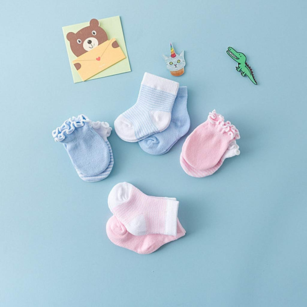 4 Pairs Children Kids Baby Newborn Socks Gloves Anti-Scratch Breathable Elasticity Protection Face Mittens Shower Gift