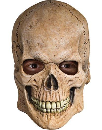 Skull Face Halloween Costume (Rubie's Costume Deluxe Overhead Skull Mask,Tan, One)